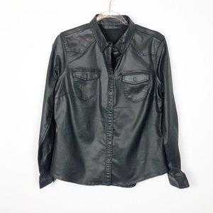 Harley Davidson Black Coated Faux Leather Shirt M